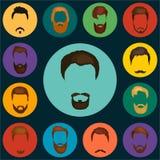 Sirve el sistema del pelo de barbas y del vector de los bigotes Tipos de moda del corte de pelo para la peluquería de caballeros  Imagenes de archivo