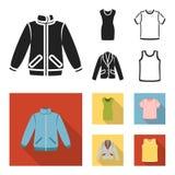 A sirve la chaqueta, una túnica, una camiseta, un traje de negocios La ropa fijó iconos de la colección en símbolo negro, plano d ilustración del vector