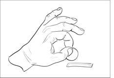 Sirve la mano que pone la moneda en moneybox. Imagenes de archivo