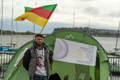 $sis ιμαμών που διευθύνει τη απεργία πείνας έξω από Senedd, με το κουρδικό φ Στοκ φωτογραφίες με δικαίωμα ελεύθερης χρήσης