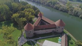 Sisak triangular fortress aerial stock video footage