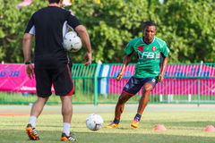 SISAKET ТАИЛАНД 3-ЬЕ АВГУСТА: Belix Kasongo BEC Tero Sasana FC Стоковые Изображения