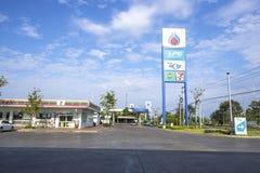 Sisaket landskap, 2 April 2017: Gas för PTT LPG och NGV-station i S Royaltyfri Bild