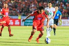 SISAKET TAILÂNDIA 18 DE FEVEREIRO: Tatree Seeha de Sisaket FC (orangotango Fotografia de Stock Royalty Free