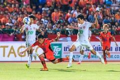 SISAKET TAILÂNDIA 18 DE FEVEREIRO: Tatree Seeha de Sisaket FC (orangotango Fotos de Stock