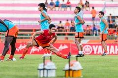 SISAKET TAILÂNDIA 29 DE OUTUBRO: Sarayuth Chaikamdee de Sisaket FC Fotografia de Stock