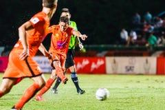 SISAKET TAILANDIA 23 DE JULIO: Santirat Viang-en de Sisaket FC Fotografía de archivo libre de regalías