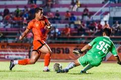 SISAKET TAILANDIA 21 de septiembre: David Bala de Sisaket FC Imagen de archivo libre de regalías