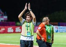 SISAKET TAILANDIA 29 OTTOBRE: Sa-Ngapol di Chalermwoot, primo allenatore Immagine Stock Libera da Diritti