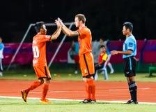 SISAKET THAÏLANDE 13 JUILLET : Brent McGrath de Sisaket FC (Non 8) Images stock