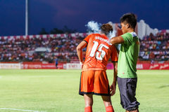 SISAKET THAÏLANDE 21 MAI : Santirat Viang-dans de Sisaket FC (orang-outan Images libres de droits