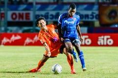 SISAKET THAILAND-AUGUST 13: Alongkorn Pratoomwong of Sisaket FC. Royalty Free Stock Photos