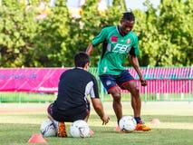 SISAKET THAILAND-AUGUST 3: Belix Kasongo of BEC Tero Sasana FC. Stock Photo