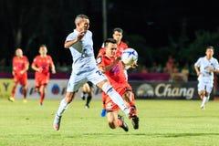 SISAKET THAILAND-AUGUST 9: Gilberto Macena of Buriram Utd (white Royalty Free Stock Photo