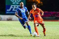 SISAKET THAILAND-AUGUST 13: Jirawat Daokhao of Sisaket FC. Royalty Free Stock Photo