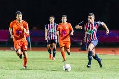 SISAKET THAILAND-AUGUST 3: Otman Djellilahine av BEC Tero Sasana FC Royaltyfria Foton