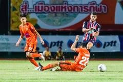 SISAKET THAILAND-AUGUST 3: Otman Djellilahine av BEC Tero Sasana FC Royaltyfri Bild