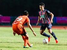 SISAKET THAILAND-AUGUST 3: Peerapat Notechaiya av BEC Tero Sasana FC Arkivbilder