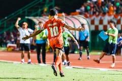 SISAKET THAILAND-AUGUST 3: Sarayuth Chaikamdee av Sisaket FC Arkivbild