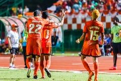 SISAKET THAILAND-AUGUST 3: Sarayuth Chaikamdee av Sisaket FC Royaltyfri Foto
