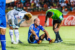 SISAKET THAILAND-AUGUST 13: Trent McClenahan of PTT Rayong FC. Royalty Free Stock Photography