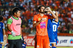 SISAKET THAILAND-AUGUST 13: Victor Amaro of Sisaket FC. (orange) Stock Photos