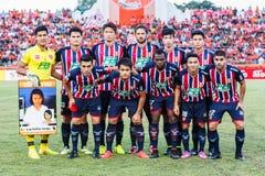 SISAKET 3 THAILAND-AUGUSTUS: Spelers van BEC Tero Sasana FC stock afbeelding