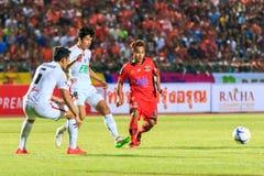SISAKET THAILAND-FEBRUARY 18: Anucha Suksai (orange) of Sisaket Royalty Free Stock Images