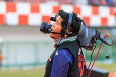 SISAKET THAILAND-FEBRUARY 18: Cameraman during Thai Premier Leag Royalty Free Stock Image