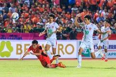 SISAKET THAILAND-FEBRUARY 18: Tatree Seeha of Sisaket FC. (orang Royalty Free Stock Photo