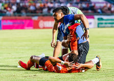 SISAKET THAILAND-JULY 23: First aid team of Sisaket FC. (blue) Stock Images