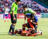 SISAKET THAILAND-JULY 23: First aid team of Sisaket FC. (blue) Royalty Free Stock Photo