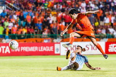 SISAKET THAILAND-JULY 6: Gorka Unda of Sisaket FC. (orange) Stock Photography