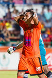 SISAKET THAILAND-JULY 6: Tatree Seeha of Sisaket FC. (orange) Stock Image