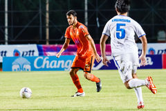 SISAKET THAILAND-JULY 13: Victor Amaro of Sisaket FC. (orange) Royalty Free Stock Image