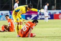 SISAKET THAILAND-JULY 13: Weera Koedpudsa of TOT S.C. (yellow) Stock Images