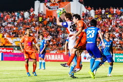 SISAKET THAILAND-JUNE 21: Chanin Sae-Eae of Singhtarua FC. (white) Stock Photo