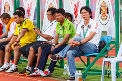 SISAKET THAILAND-JUNE 21: Dusit Chalermsan (R) head coach Stock Photo