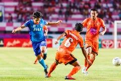 SISAKET THAILAND-JUNE 21: Hironori Saruta (Blue) of Singhtarua Royalty Free Stock Image