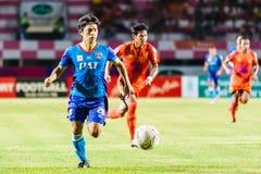 SISAKET THAILAND-JUNE 21: Hironori Saruta (Blue) of Singhtarua Royalty Free Stock Photography