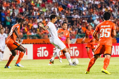SISAKET THAILAND-JUNE 8: Jay Bothroyd of Muangthong Utd. (white) Stock Photos