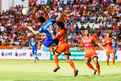 SISAKET THAILAND-JUNE 21: Joo Sung-Hwan of Singhtarua FC. (Blue) Stock Photo
