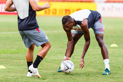 SISAKET THAILAND-JUNE 29: Kalifa Cisse of Bangkok Utd. In action during a training ahead Thai Premier League between Sisaket FC and Bangkok Utd at Sri Nakhon Stock Image
