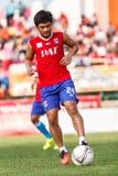 SISAKET THAILAND-JUNE 21: Kroekrit Thaweekarn of Singhtarua FC. Royalty Free Stock Photography