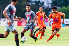 SISAKET THAILAND-JUNE 29: Leandro Tatu of Bangkok Utd. (grey) Stock Photo