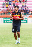 SISAKET THAILAND-JUNE 8: Teerasil Dangda of Muangthong Utd. Royalty Free Stock Photo