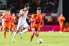 SISAKET THAILAND-JUNE 8: Teerasil Dangda of Muangthong Utd. Royalty Free Stock Photos
