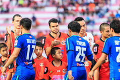 SISAKET THAILAND-JUNE 21: Victor Amaro of Sisaket FC. (middle) s Royalty Free Stock Images