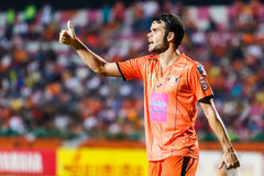 SISAKET THAILAND-JUNE 29: Victor Amaro of Sisaket FC. (orange) Royalty Free Stock Photos