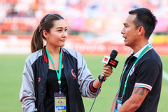 SISAKET THAILAND 3. MAI: Chamaiporn Heanprasert wahren Sportrepräsentanten Stockfoto